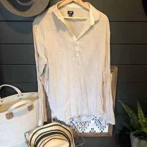 H&M Mens linen half button shirt
